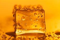 在湿玻璃桌上的色的冰块 选择聚焦 免版税库存照片