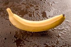 在湿黑背景的唯一香蕉 免版税图库摄影