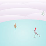 在溜冰场的人冰鞋 免版税库存图片