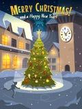 在溜冰场的圣诞树在老镇 库存照片