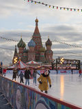 在溜冰场的圣诞节在莫斯科 免版税库存照片