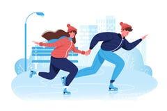 在滑冰在冰的冬季衣服的平的愉快的夫妇在公园 向量例证