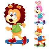 在滑板的动物 向量例证