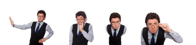 在滑稽的概念的年轻商人在白色 免版税库存照片