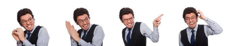 在滑稽的概念的年轻商人在白色 免版税图库摄影