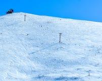 在滑雪倾斜的驾空滑车在北极谷,阿拉斯加 图库摄影