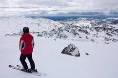 在滑雪倾斜顶部的一个滑雪者身分在Perisher在澳大利亚 库存图片