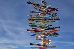 在滑雪胜地在奥地利阿尔卑斯, Ischgl的方向标 免版税库存照片