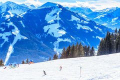在滑雪胜地布雷萨诺内im Thalef的倾斜 蒂罗尔 免版税图库摄影