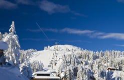 在滑雪胜地的奥地利阿尔卑斯风景 库存图片
