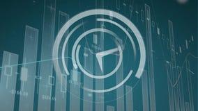 在滚动灰色图表上加速白色时钟 库存例证