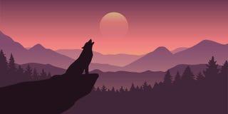 在满月紫色野生生物自然风景的狼嗥叫 向量例证