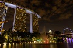 在滨海湾公园附近的海洋海湾 轻的树展示的夜视图在新加坡 库存图片