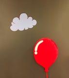 在漂浮在与白色云彩的在摘要的角落和Copyspace的发光的红色气球设计样式的一个3d红色软的蓬松枕头 免版税库存图片