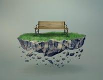 在漂浮在空中的一个石海岛上的空的长凳 库存图片