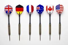 在演奏箭代表的六个国家 免版税库存照片
