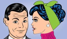在漫画样式的流行艺术逗人喜爱的减速火箭的夫妇 免版税图库摄影