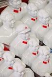 在潘家园市场,北京,中国上的汇集白色毛泽东雕塑 免版税库存图片