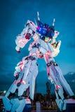 在潜水者城市东京广场的流动衣服RX-0独角兽Gundam在御台场地区,东京 免版税库存照片