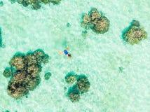 在潜航在珊瑚礁热带加勒比海,土耳其玉色水的人下的空中上面 印度尼西亚Wakatobi群岛, 免版税库存照片