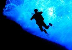 在潜水员水肺sihouette之下 库存照片