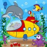 在潜水艇的动物 图库摄影