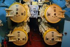 在潜水艇的鱼雷发射管 库存照片