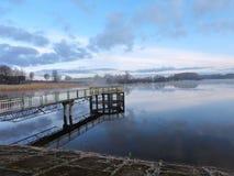 在潮湿,立陶宛附近的日出 免版税库存照片