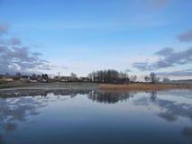 在潮湿,立陶宛附近的日出 免版税图库摄影