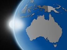 在澳大利亚大陆的日落从空间 库存例证
