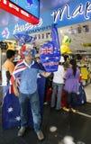 在澳大利亚天游行期间的参加者在墨尔本 免版税库存图片