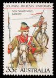 在澳大利亚打印的邮票显示新南威尔斯持枪骑兵 免版税库存照片