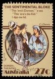 在澳大利亚打印的邮票,展示感伤的男人,由C J 丹尼斯 库存图片