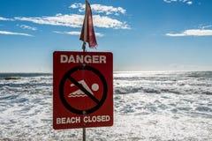 被关闭的危险海滩 图库摄影