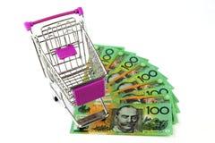 在澳大利亚金钱的台车 免版税库存照片
