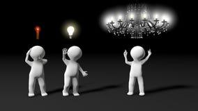 在激发灵感会议期间,显示几个想法的隐喻 免版税库存照片