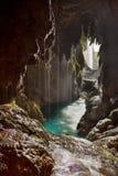 在瀑布之后陷下在Monasterio de Piedra 免版税图库摄影
