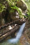 在瀑布的木人行桥 库存照片