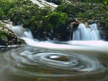 在瀑布的被弄脏的水充分水。   库存照片