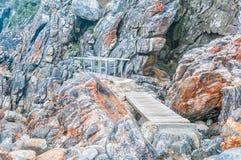 在瀑布足迹的两座桥梁 图库摄影