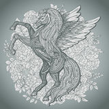 在灌木玫瑰backg的手拉的佩格瑟斯神话飞过的马 免版税库存照片