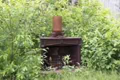 在灌木的老铁壁炉 库存图片