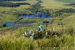 在灌木,山Toratau的色的丝带 免版税库存照片