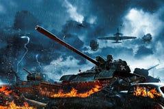 在火下的三辆坦克从敌机 免版税库存照片