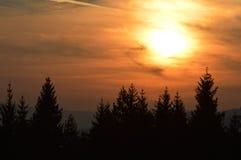 在火下的天空 免版税库存图片