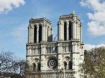 在火以后的Cathedrale巴黎圣母院 免版税图库摄影