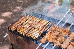 在火准备的开胃新鲜的肉烤肉串 免版税库存照片