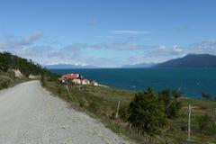 在火土地海岛上的湖Fagnano  库存照片