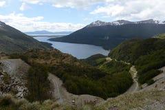 在火土地海岛上的湖Fagnano  库存图片