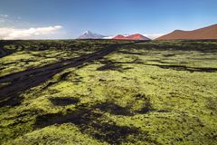 在火山爆发扎尔巴奇克火山以后的炉渣沙漠 免版税库存照片